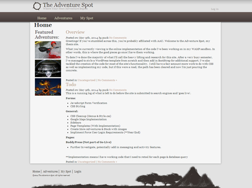 Screenshot of the Adventure Spot's website home page.